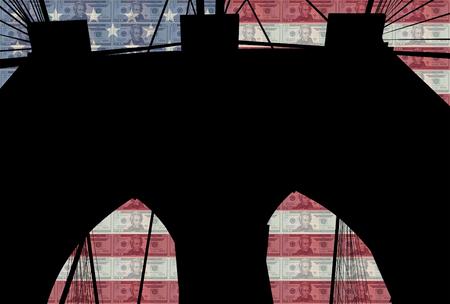 brooklyn bridge: Brooklyn bridge with 20 dollar bill and American flag