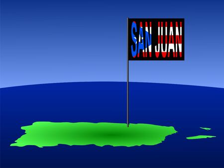 map of Puerto Rico with position of San Juan marked by flag pole illustration illustration