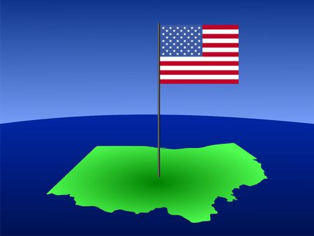 map of Ohio with American Flag on pole photo