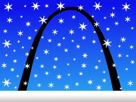 Gateway arch St louis in winter with falling snow photo