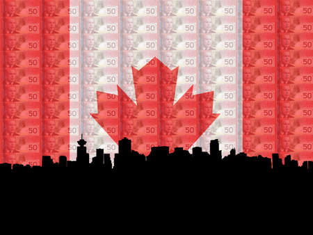 Vancouver skyline with flag and currency of Canada photo
