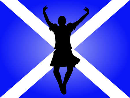 scottish flag: Highland ballerino che salta con la bandiera scozzese ILLUSTRAZIONE