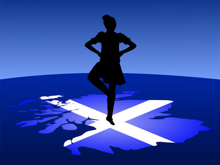 scottish female: highland dancer balancing on map of Scotland Illustration Stock Photo