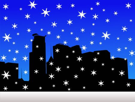 iciness: Minneapolis skyline in winter with falling snow Stock Photo