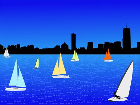 Boston skyline and yachts with colourful sails