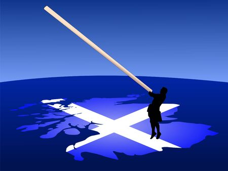 kilt: Man in kilt with caber on map of Scotland illustration Stock Photo