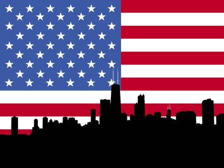 Chicago Skyline with American flag illustration Stock Photo
