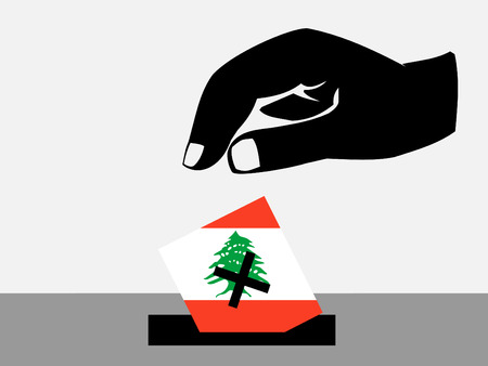 lebanese: Hand voting with ballot paper in Lebanese election Stock Photo
