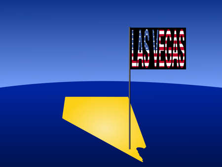 marked: Map of Nevada with position of Las Vegas marked by flag Stock Photo
