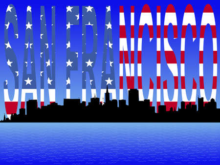 transamerica: San Francisco skyline with flag text illustration Stock Photo