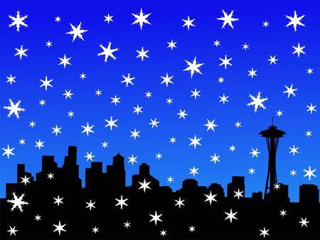 seattle skyline: Seattle skyline in winter with falling snow Stock Photo