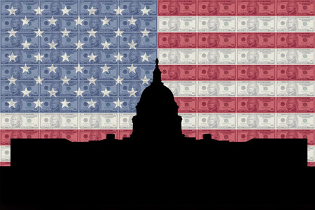 greenbacks: US capitol building with American flag and currency Stock Photo