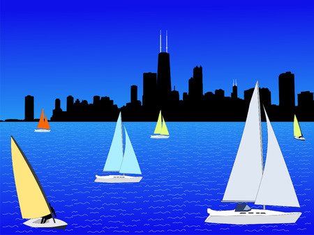 sears: yachts on Lake Michigan with Chicago skyline Stock Photo