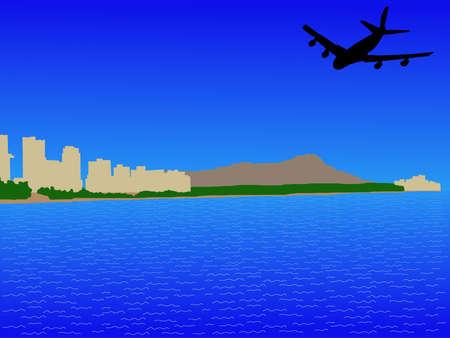 oahu: plane flying towards to Waikiki Skyline and Diamond Head oahu Hawaii Stock Photo