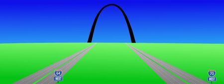 gateway: two interstates leading to Gateway arch St louis