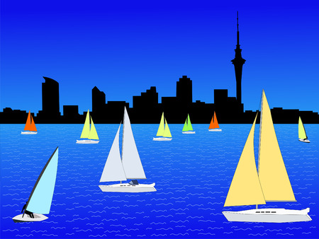 Auckland skyline with yachts with colourful sails