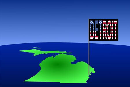 detroit: Map of Michigan with position of Detroit marked by flag pole illustration