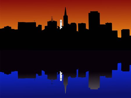 coit tower: Coit tower and San Francisco skyline reflected at sunset illustration