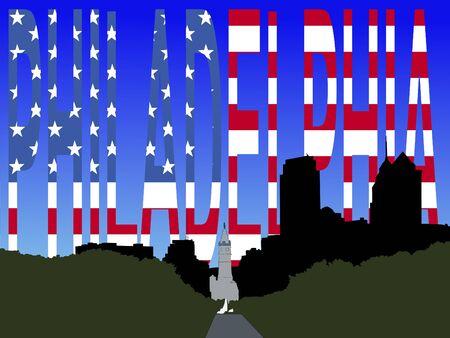 philadelphia: Philadelphia City Hall with Flag Text