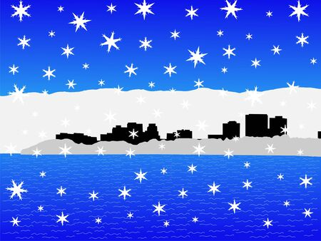 iciness: Anchorage skyline in winter with falling snow