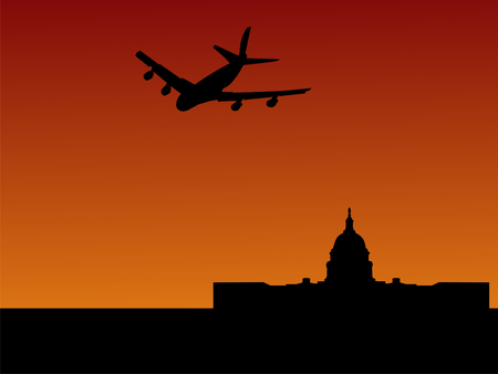 congress: four engine plane arriving in Washington DC with US Capitol building