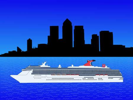 canary wharf: Cruise ship and London Docklands Skyline illustration Stock Photo