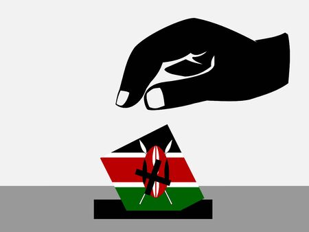 Hand voting with ballot paper in Kenyan election photo