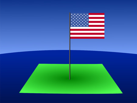 colorado flag: Map of Colorado with American flag on pole illustration