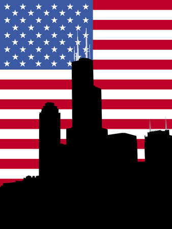 the sears tower: Sears tower Chicago and American flag illustration