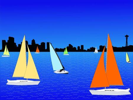 yachts on lake union with Seattle skyline photo