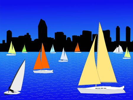 Yachts sailing and San Diego skyline illustration Banco de Imagens