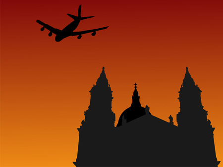 Four engine plane flying past St Pauls cathedral London photo