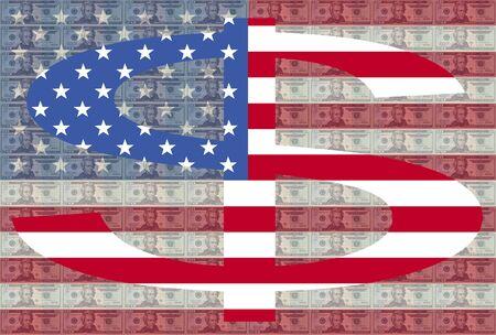 greenbacks: Giant dollar symbol against twenty dollar bills and American flag