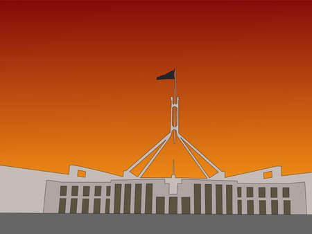 canberra: Australian parliament building Canbera at sunset illustration