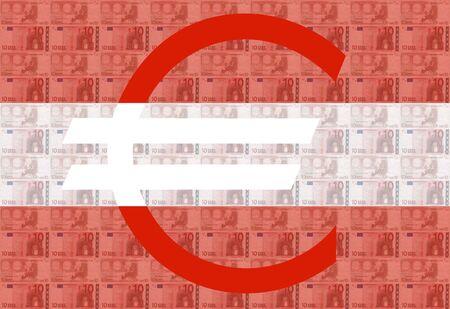austrian: Giant euro sign with 10 euro notes and Austrian flag Stock Photo
