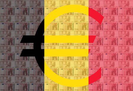 austrian flag: Giant euro sign with 10 euro notes and Austrian flag Stock Photo