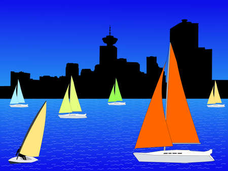 yachts with colourful sails and Vancouver skyline