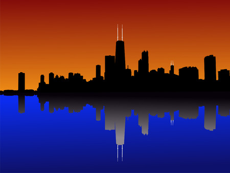 chicago skyline: Chicago Skyline at sunset reflected in lake michigan Stock Photo