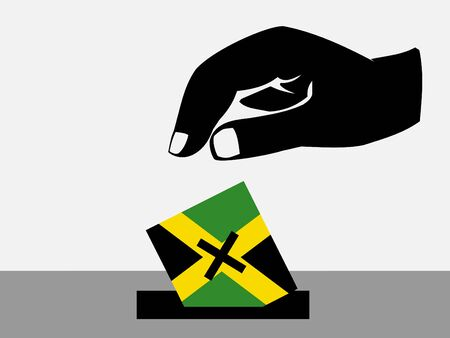 jamaican: Hand voting with ballot paper in Jamaican election