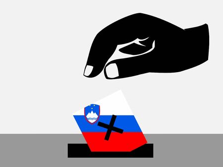 slovenian: Hand voting with ballot paper in Slovenian election