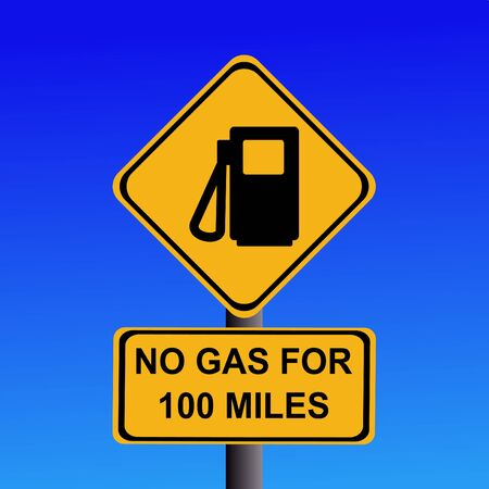 yellow beware: American warning no gas for 100 miles sign Stock Photo