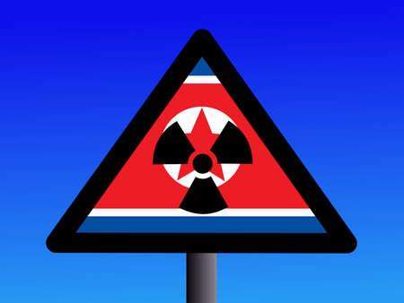 radioactivity sign with North Korean flag on blue illustration Stock Illustration - 1693843