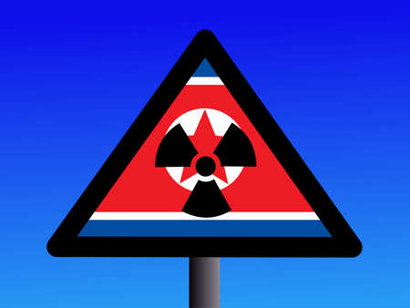 radioactivity sign with North Korean flag on blue illustration Stock Illustration - 1693843