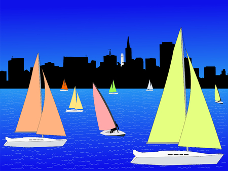 San Francisco skyline and yachts with colourful sails photo