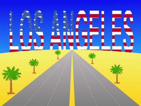 motorway: Empty freeway towards Los Angeles text with American flag Stock Photo