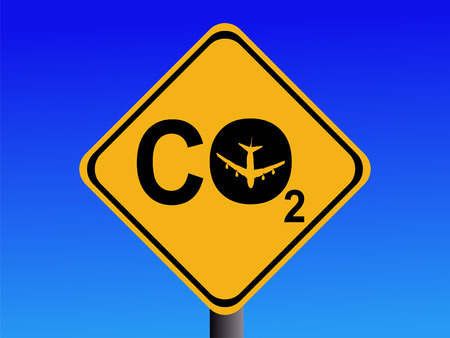 emissions: Warning CO2 emissions from air travel sign