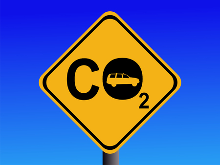 indicate: Warning CO2 emissions from automobile sign illustration