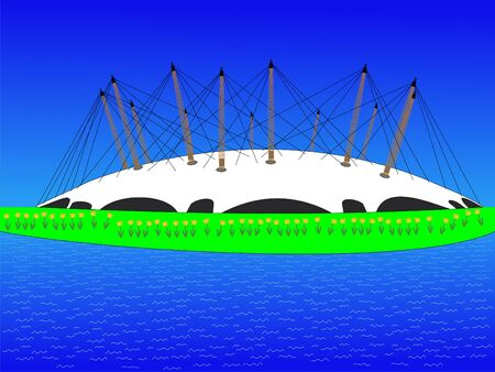 millennium: Millennium dome in spring with daffodils illustration
