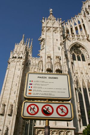 Multilingual respect the Piazza Duomo Sign Milan Italy photo
