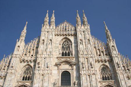 upper part of the facade of Duomo Milan Italy Stock Photo - 1772080